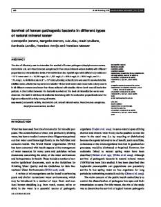 Survival of human pathogenic bacteria in different ... - Semantic Scholar