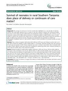 Survival of neonates in rural Southern Tanzania: does ... - Springer Link