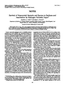 Survival of Nosocomial Bacteria and Spores on Surfaces and ...