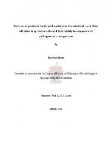 Survival of probiotic lactic acid bacteria in the intestinal tract ... - Core