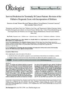 Survival Prediction for Terminally Ill Cancer Patients: Revision of the ...