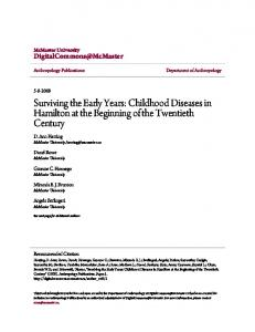 Surviving the Early Years: Childhood Diseases in ...