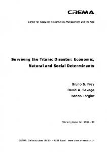 Surviving the Titanic Disaster: Economic, Natural and Social ... - crema