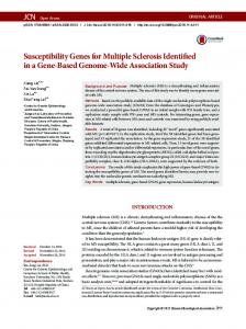 Susceptibility Genes for Multiple Sclerosis ... - Semantic Scholar