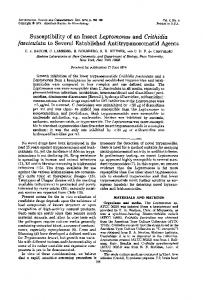 Susceptibility of an Insect Leptomonas and Crithidia fasciculata to ...