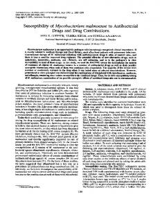 Susceptibility of Mycobacterium malmoense to Antibacterial