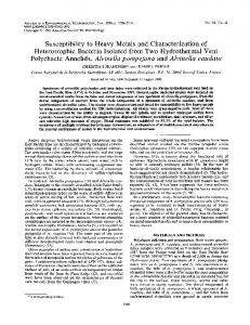 Susceptibility to Heavy Metals and Characterization of Heterotrophic ...