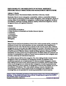sustainability and resilience in natural resource systems - CiteSeerX