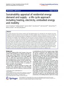 Sustainability appraisal of residential energy demand and supply - a ...