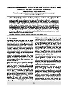 Sustainability Assessment of Rural Solar PV Water Pumping System in ...