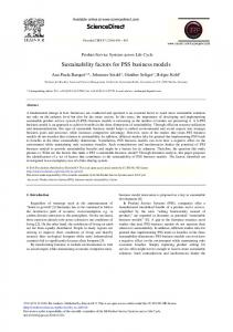 Sustainability Factors for PSS Business Models - ScienceDirect