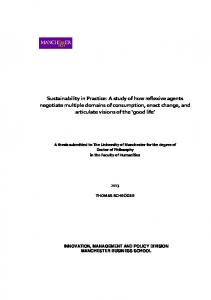 Sustainability in Practice: A study of how reflexive agents negotiate ...
