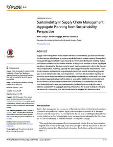Sustainability in Supply Chain Management