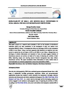 SUSTAINABILITY OF SMALL AND MEDIUM SCALE ENTERPRISES ...