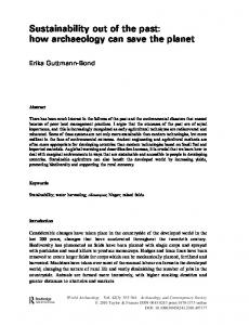 Sustainability out of the past: how archaeology can save ... - CiteSeerX