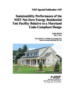 Sustainability Performance of the NIST Net Zero Energy ... - NIST Page