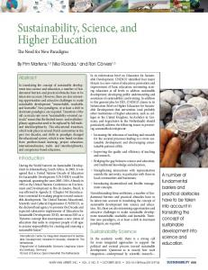 Sustainability, Science, and Higher Education