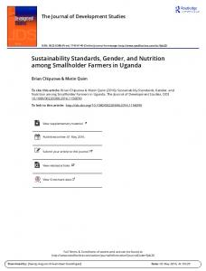 Sustainability Standards, Gender, and Nutrition