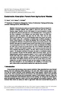 Sustainable Absorption Panels from Agricultural Wastes