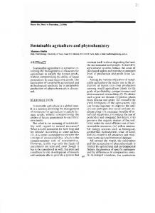 Sustainable agriculture and phytochemistry