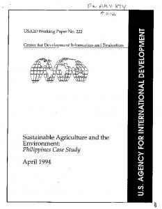 Sustainable Agriculture and the Environment: Philippines Case ... - usaid