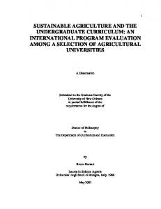 sustainable agriculture and the undergraduate