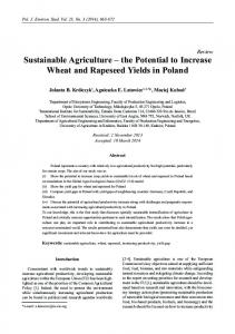 Sustainable Agriculture - Polish Journal of Environmental Studies