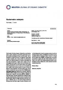 Sustainable catalysis - Beilstein Journals