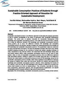 Sustainable Consumption Practices of Students through ... - hrmars