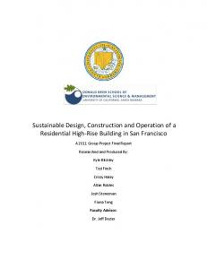 Sustainable Design, Construction and Operation of a Residential ...