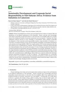 Sustainable Development and Corporate Social Responsibility ... - MDPI