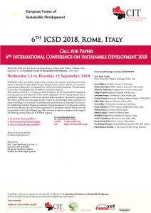 Sustainable Development Conference ICSD 2018 Rome, Italy