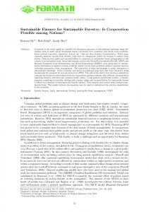 Sustainable Finance for Sustainable Forestry: Is ...