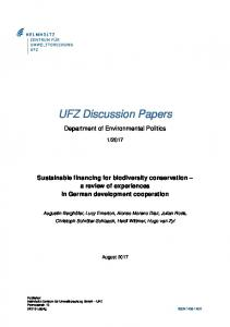 Sustainable financing for biodiversity conservation - UFZ