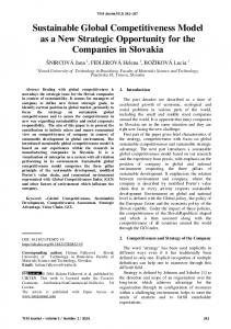 Sustainable Global Competitiveness - TEM JOURNAL