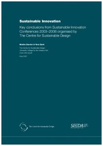 Sustainable Innovation - The Centre for Sustainable Design