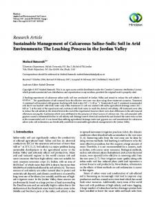 Sustainable Management of Calcareous Saline-Sodic Soil in Arid ...