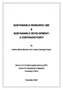 sustainable resource use & sustainable development - Center for ...