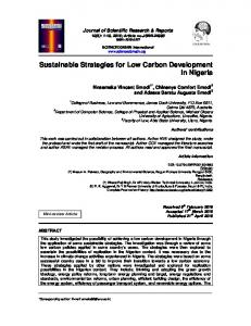 Sustainable Strategies for Low Carbon Development ...