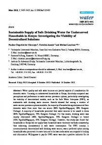 Sustainable Supply of Safe Drinking Water for ... - mediaTUM
