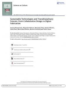 Sustainable Technologies and Transdisciplinary ...