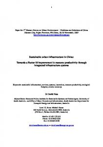 Sustainable urban infrastructure in China