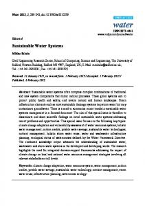 Sustainable Water Systems - MDPI