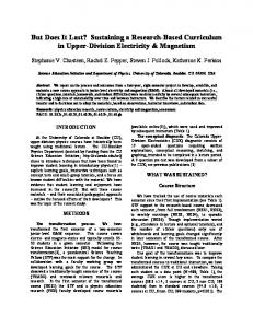 Sustaining a Research-Based Curriculum in Upper-Division Electricity ...