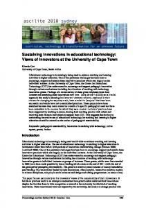 Sustaining innovations in educational technology: Views of ... - Ascilite
