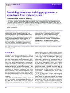 Sustaining simulation training programmes ... - Wiley Online Library