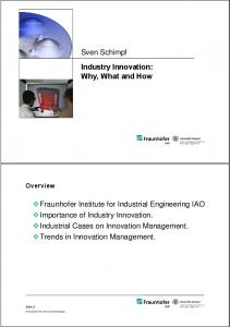 Sven Schimpf Industry Innovation: Why, What and How ... - Inmetro