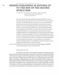 swedes publishing in estonia up to the end of the second world war