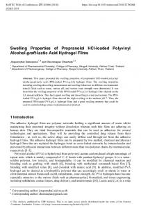 Swelling Properties of Propranolol HCl-loaded Polyvinyl Alcohol-graft