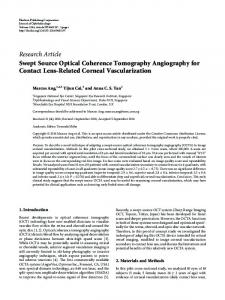 Swept Source Optical Coherence Tomography Angiography for ...